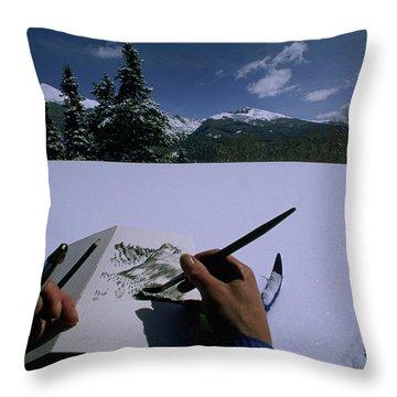 An Artist Makes A Sketch Throw Pillow