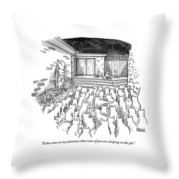 An Assembly Of Cats In A Backyard Led By Three Throw Pillow