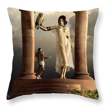 An Audience With Athena Throw Pillow