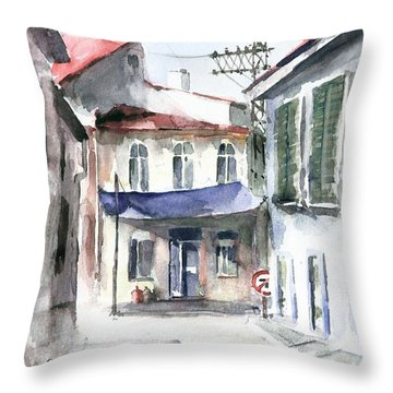 An Authentic Street In Urla - Izmir Throw Pillow