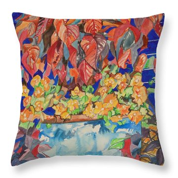An Autumn Floral Throw Pillow by Esther Newman-Cohen