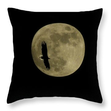 An Eagle And The Moon Throw Pillow