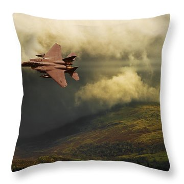 Throw Pillow featuring the photograph An Eagle Over Cumbria by Meirion Matthias