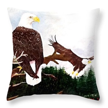 An Eagles View  Throw Pillow by Catherine Swerediuk