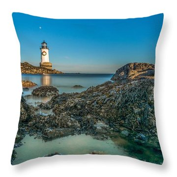 An Early Moon Over Fort Pickering Light Salem Ma Throw Pillow