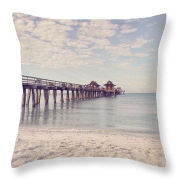 An Early Morning - Naples Pier Throw Pillow