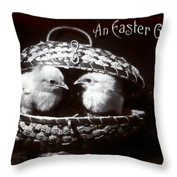An Easter Greeting 1908 Vintage Postcard Throw Pillow