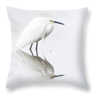 An Egret And An Overcast Day Throw Pillow