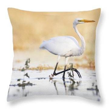 Throw Pillow featuring the photograph An Egret At Sunset by Ruth Jolly