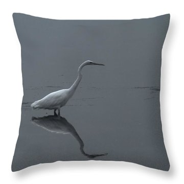 An Egret Standing In Its Reflection Throw Pillow by Jeff Swan