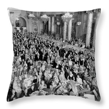 An Elegant Banquent Scene Throw Pillow by Underwood Archives