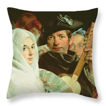 An Elegant Couple From Madrid, C.1770 Oil On Canvas Throw Pillow