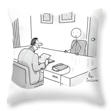 An Employer Interviews A Stick Figure Throw Pillow