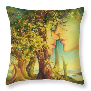 An Encounter At The Edge Of The Forest Throw Pillow