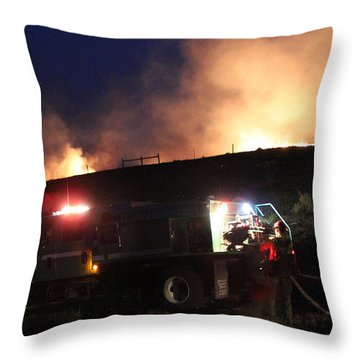 An Engine Crew Works At Night On White Draw Fire Throw Pillow
