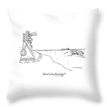 An Eskimo With A Megaphone Sits Atop A Lifeguard Throw Pillow