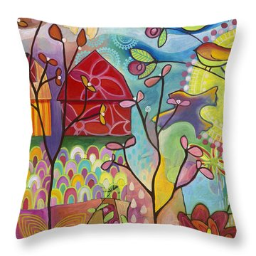 Throw Pillow featuring the painting An Evening At The Barn by Carla Bank