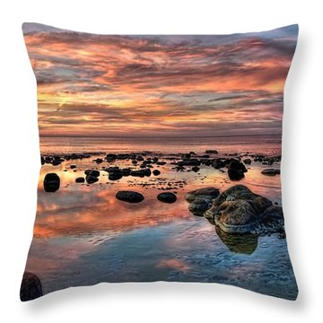 An Evening At The Beach Throw Pillow