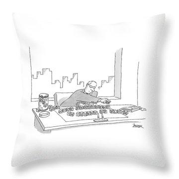 An Executive Sitting At His Desk Plays Throw Pillow