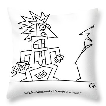 An Executive Speaks To A Stressed And Geometric Throw Pillow