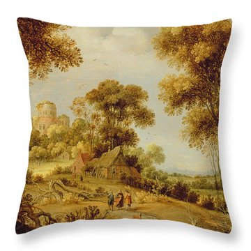 An Extensive Wooded Landscape Throw Pillow