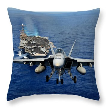 Throw Pillow featuring the photograph An Fa-18 Hornet Demonstrates Air Power. by Paul Fearn