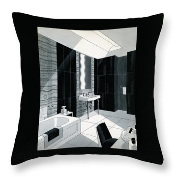 An Illustration Of A Bathroom Throw Pillow