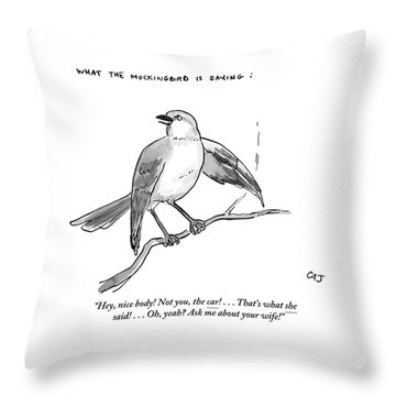 An Incendiary Mockingbird Is Depicted Throw Pillow