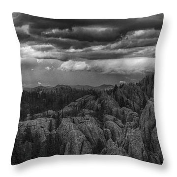 An Incoming Storm Over The Black Hills Of South Dakota Throw Pillow
