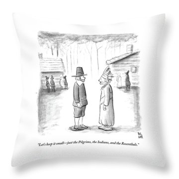 An Indian Chief Speaks To A Pilgrim Throw Pillow by Paul Noth