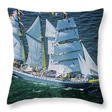 An Indonesian Ship In The Liberty 100 Throw Pillow