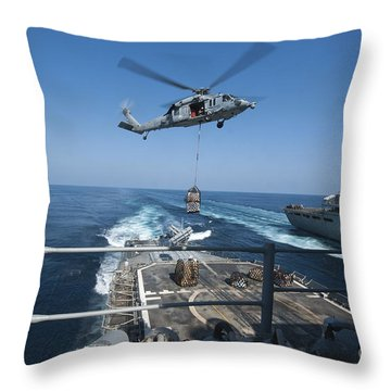 An Mh-60s Sea Hawk Brings Pallets Throw Pillow by Stocktrek Images