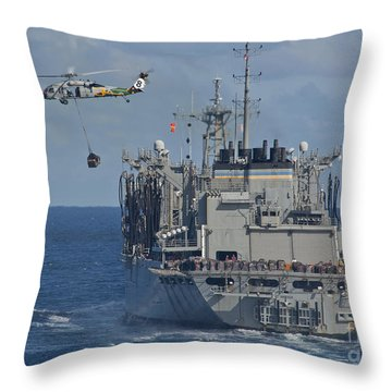 An Mh-60s Sea Hawk Conducts A Vertical Throw Pillow by Stocktrek Images
