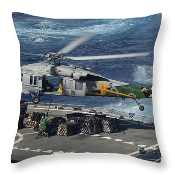 An Mh-60s Sea Hawk Helicopter Picks Throw Pillow by Stocktrek Images