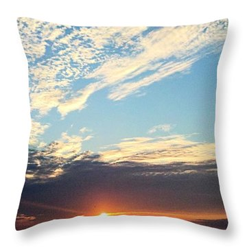 Throw Pillow featuring the photograph An Ocean And A Sunrise by Tyson Kinnison