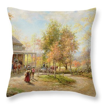 An October Day Throw Pillow by Edward Lamson Henry