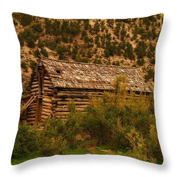 An Old Cabin In Utah Throw Pillow by Jeff Swan