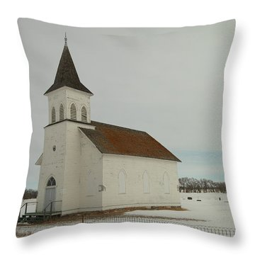 An Old Church In North Dakota Throw Pillow by Jeff Swan