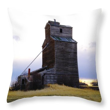 An Old Grain Elevator Off Highway Two In Montana Throw Pillow by Jeff Swan