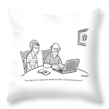 An Old Man And Old Woman Sit At A Laptop Throw Pillow