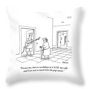 An Old Man In A Bathrobe Addresses A Young Man Throw Pillow