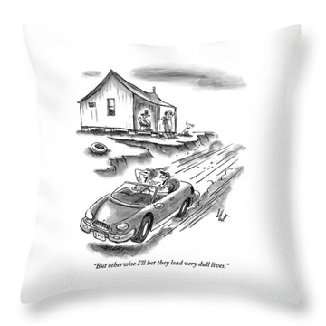 An Old Married Couple Sitting On Their Porch Throw Pillow