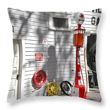 An Old Village Gas Station Throw Pillow