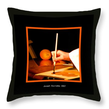 An Orange And A Brush Throw Pillow
