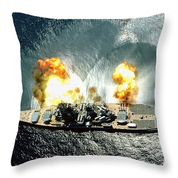 An Overhead View Of The Battleship Uss Iowa Bb61 Firing All 15 Of Its Guns Throw Pillow
