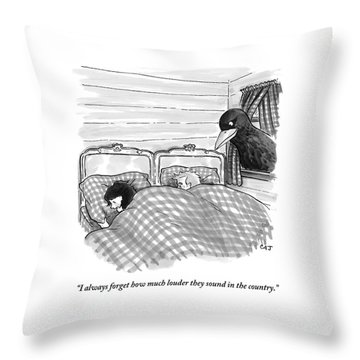 An Overly Large Bird Peers Into The Bedroom Throw Pillow