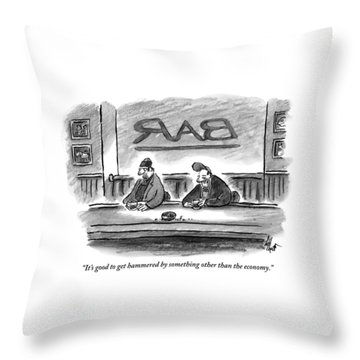 An Unshaven Man Says To Another Man At A Bar Throw Pillow
