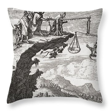 An Unusual Method Of Extorting Confessions From Criminals, After A 16th Century Drawing Throw Pillow