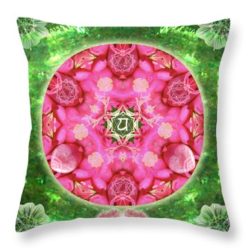 Anahata Rose Throw Pillow