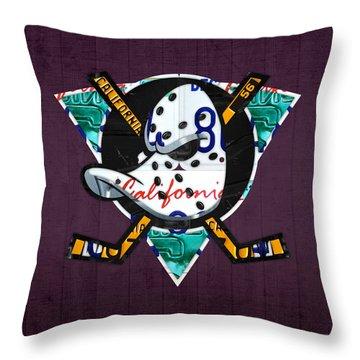 Anaheim Ducks Hockey Team Retro Logo Vintage Recycled California License Plate Art Throw Pillow by Design Turnpike